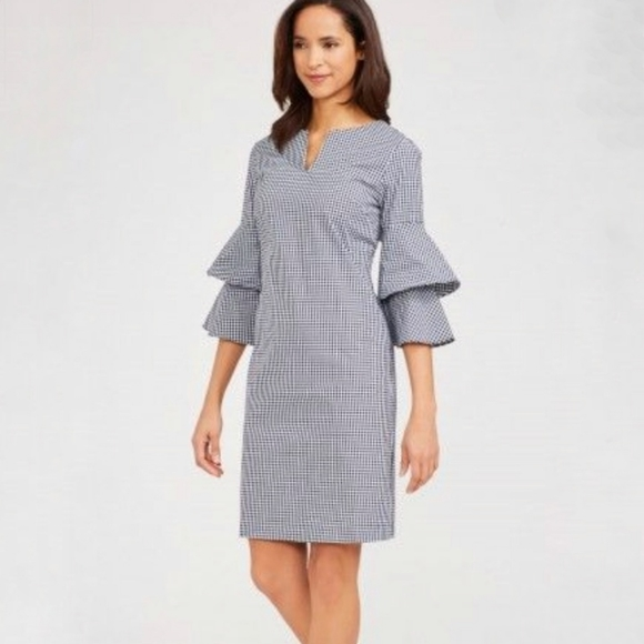 J. McLaughlin Letty Dress navy blue gingham small